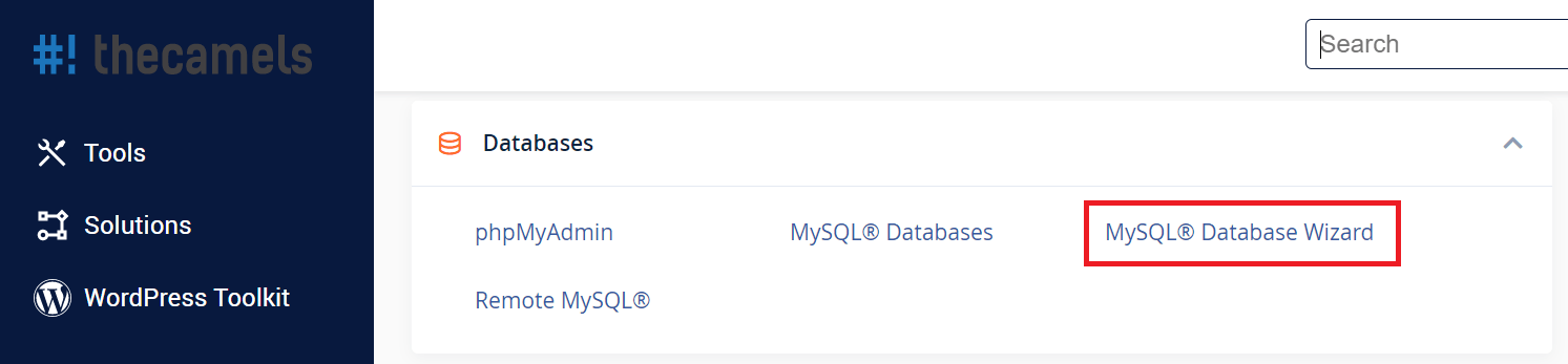 cPanel - databases wizard - step 1