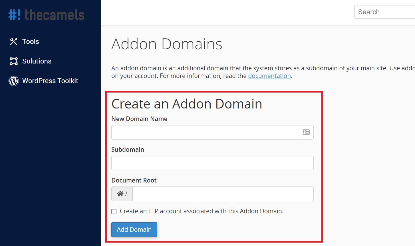 Adding addon domain - step 2