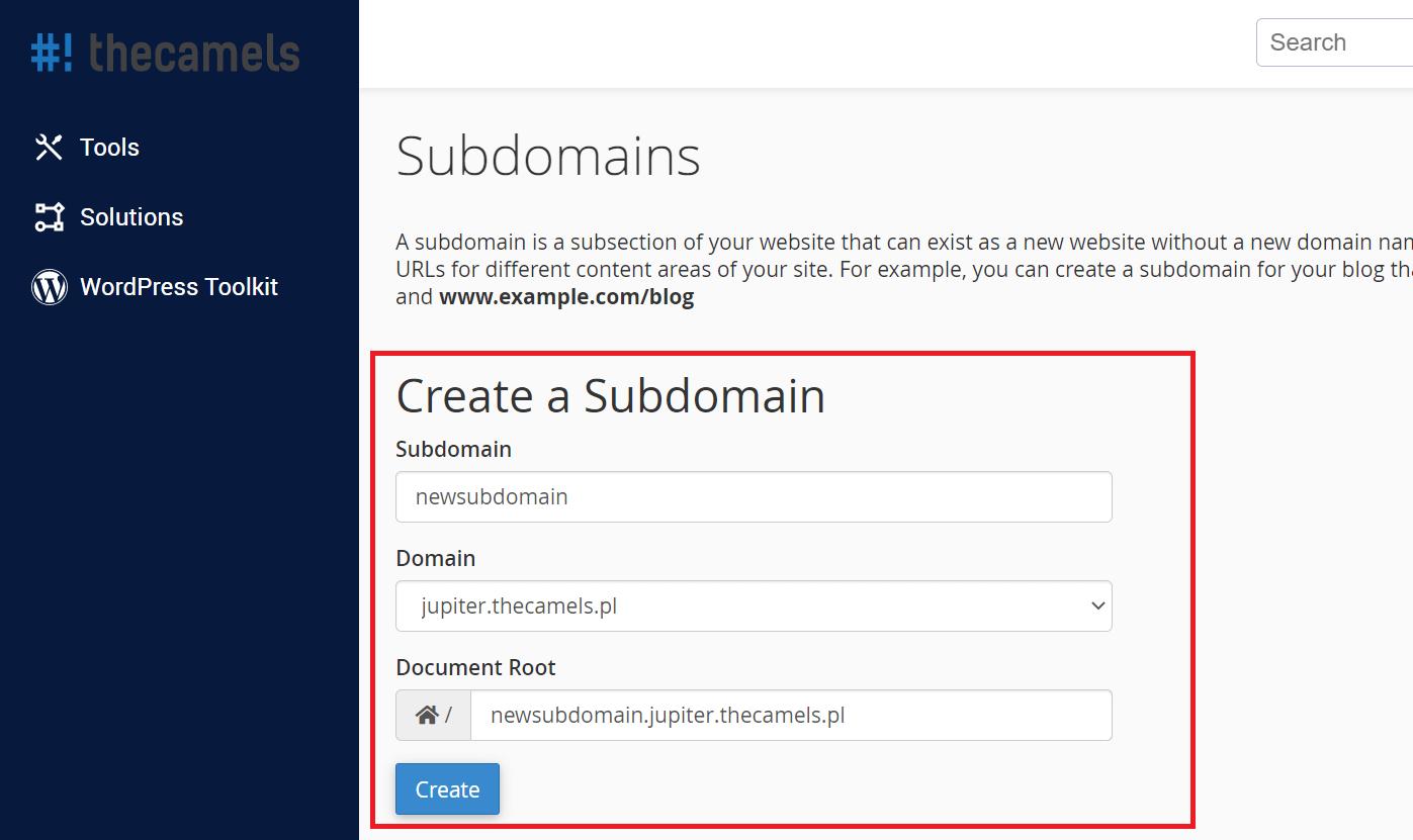 Adding subdomain - step 2