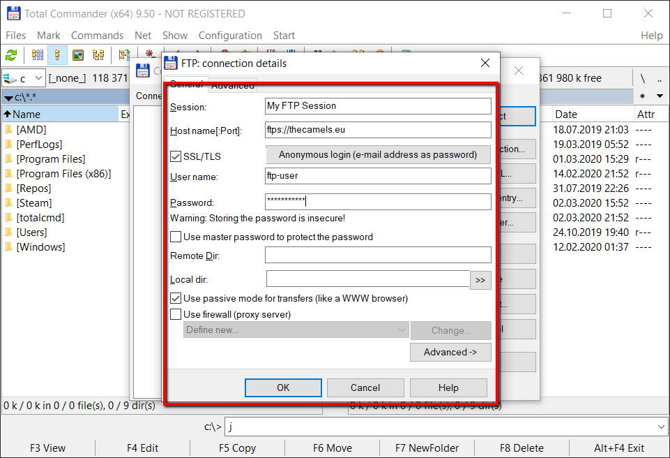 Configuration of Total Commamnder FTP client - step 3