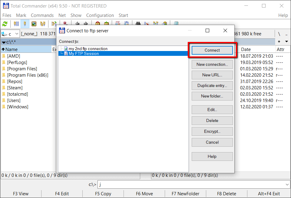Configuration of Total Commamnder FTP client - step 4
