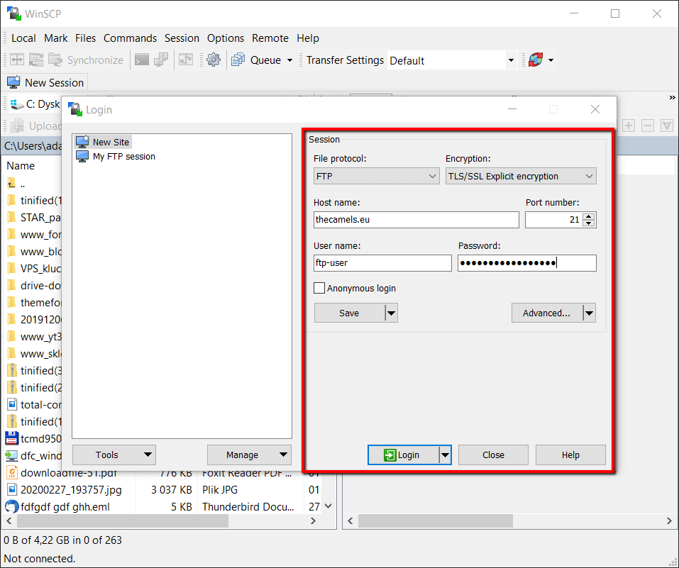 Configuration of WinSCP FTP client - step 1