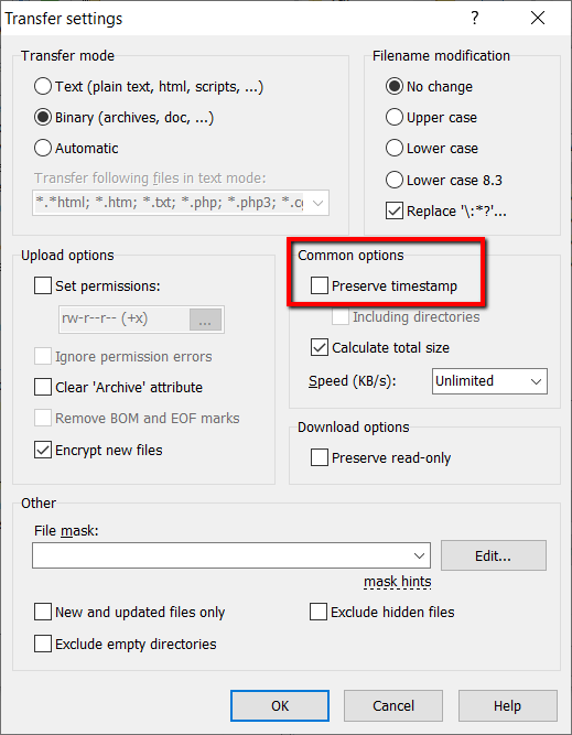 WinSCP time error - step 3
