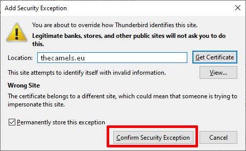 Thunderbird -  SSL error