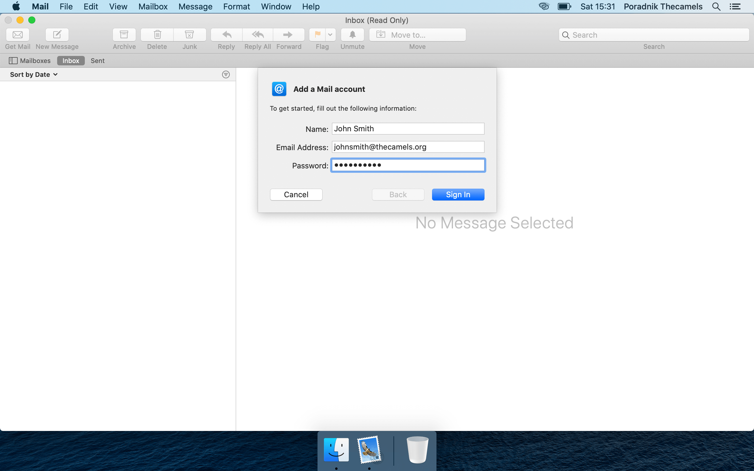 Mail on MacOS - step 3