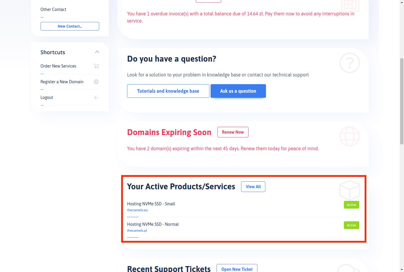Ordering an additional address/IP range - step 1