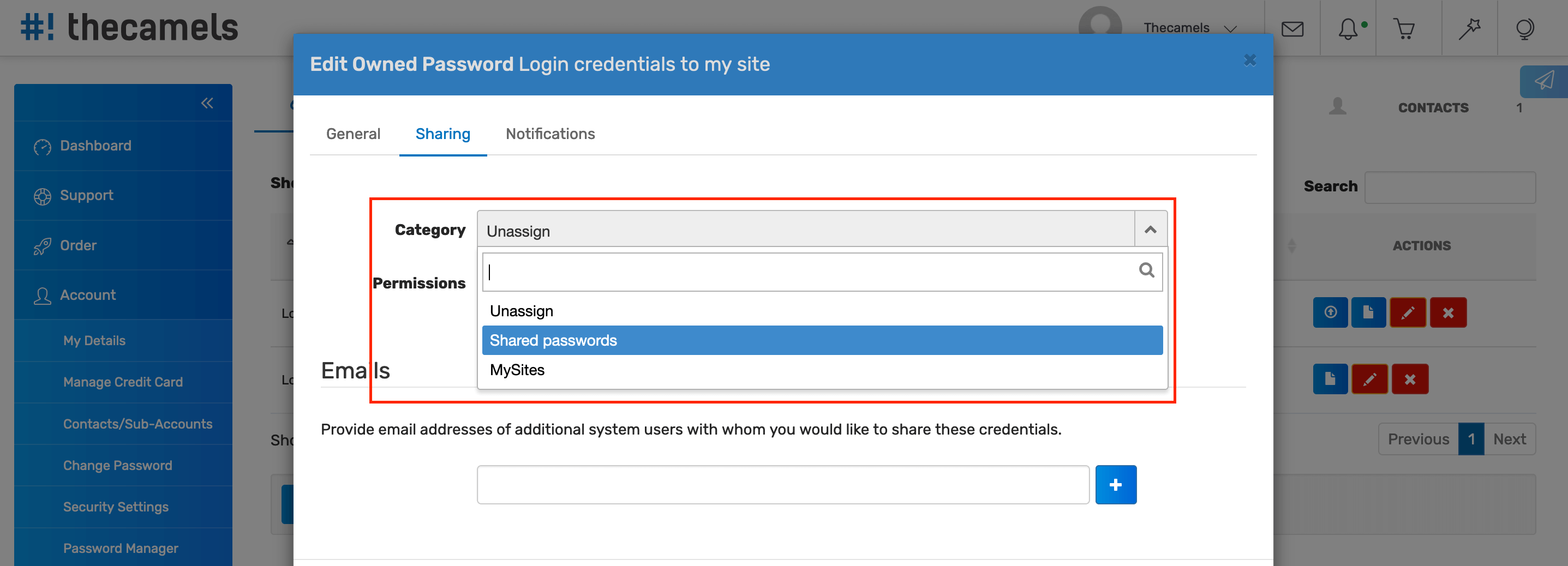 Password Manager - Sharing