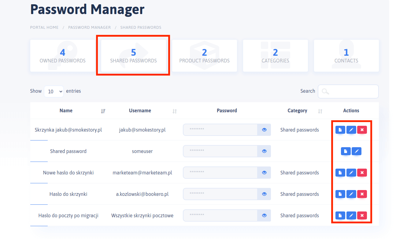 Password Manager - Shared Passwords