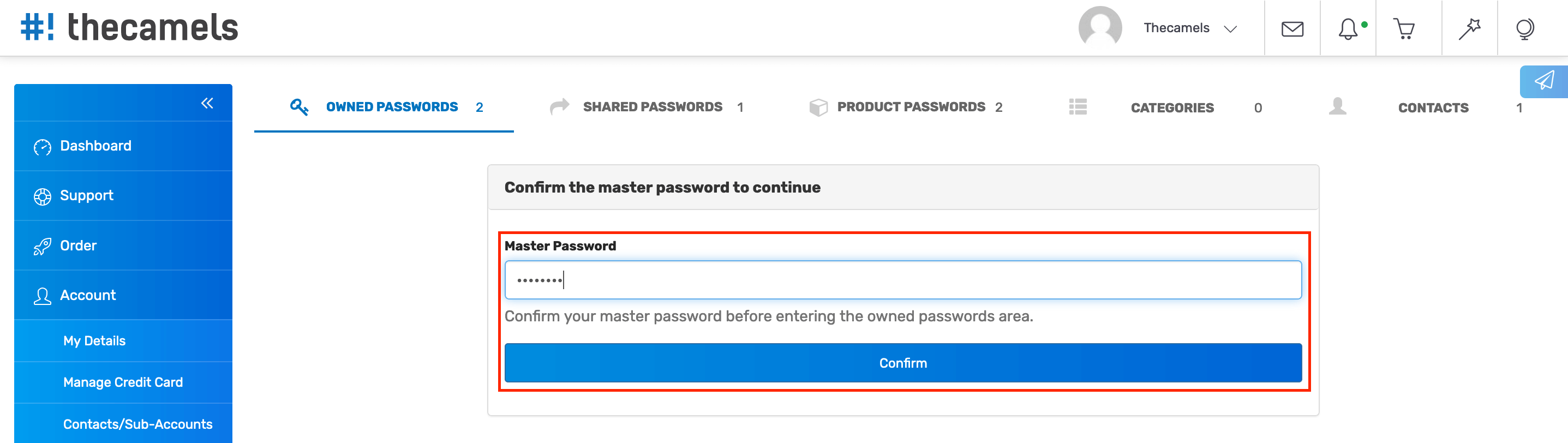 Password Manager - Enable main password