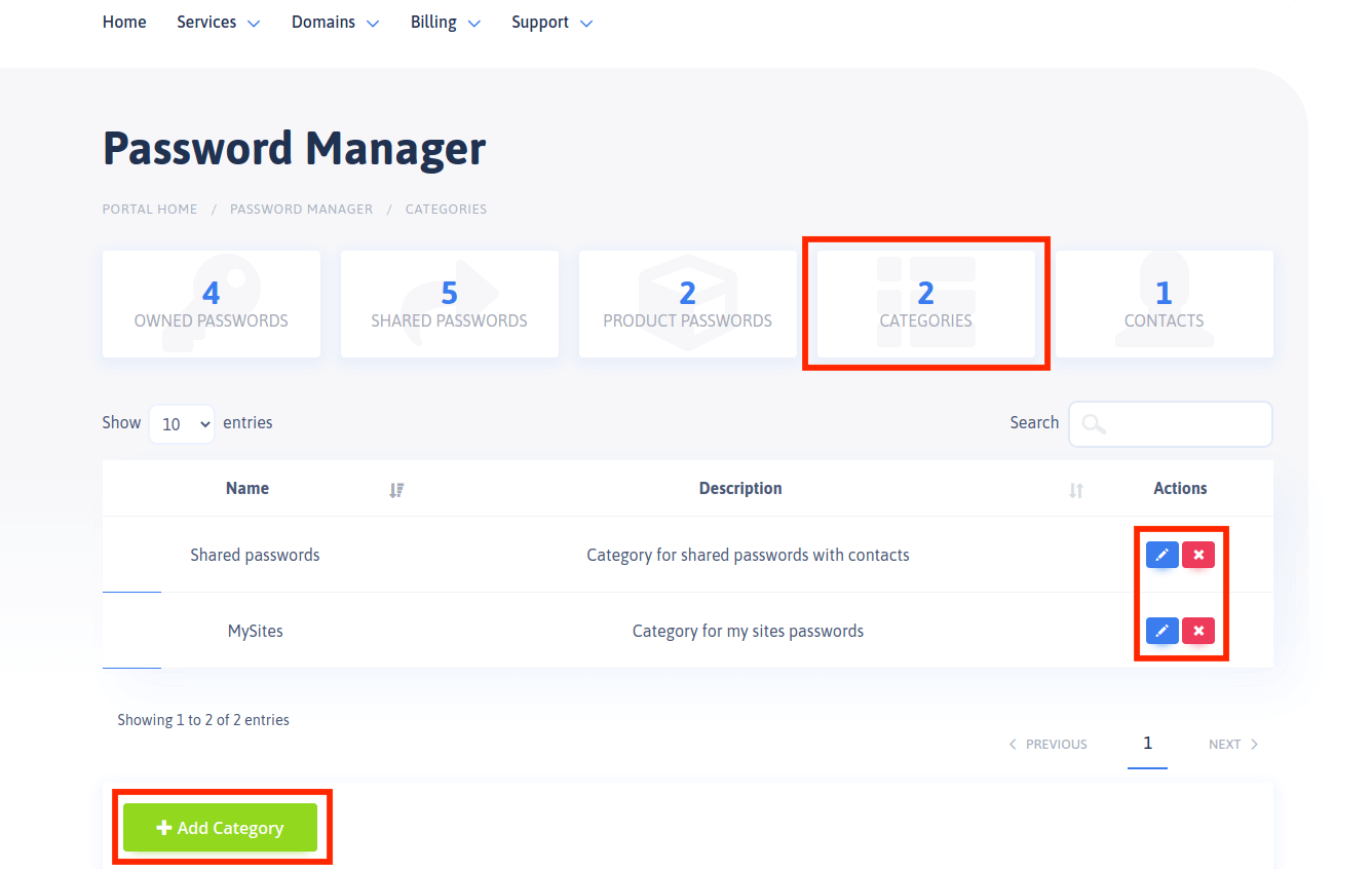 Password Manager - Categories