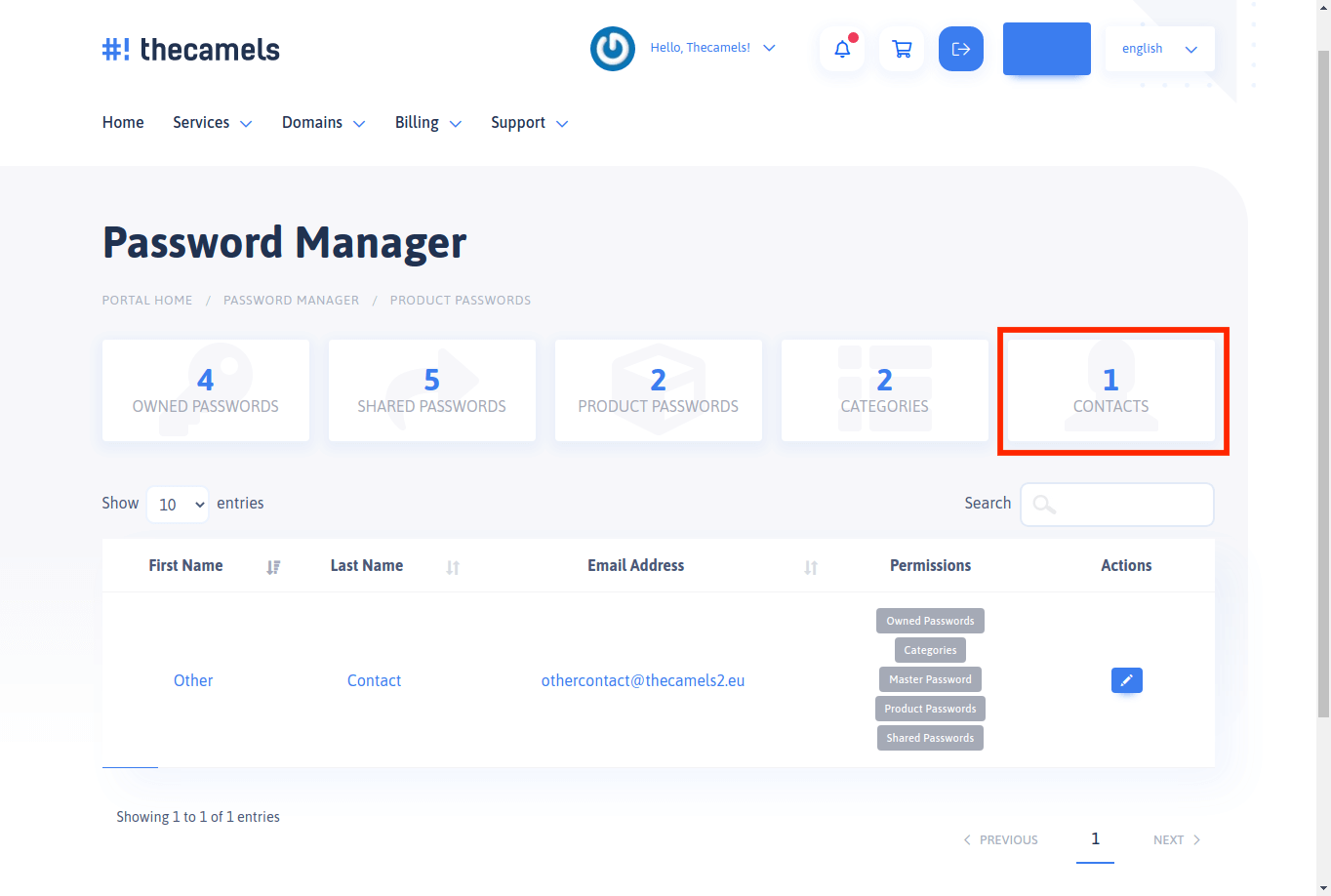 Password Manager - contacts or additional accounts