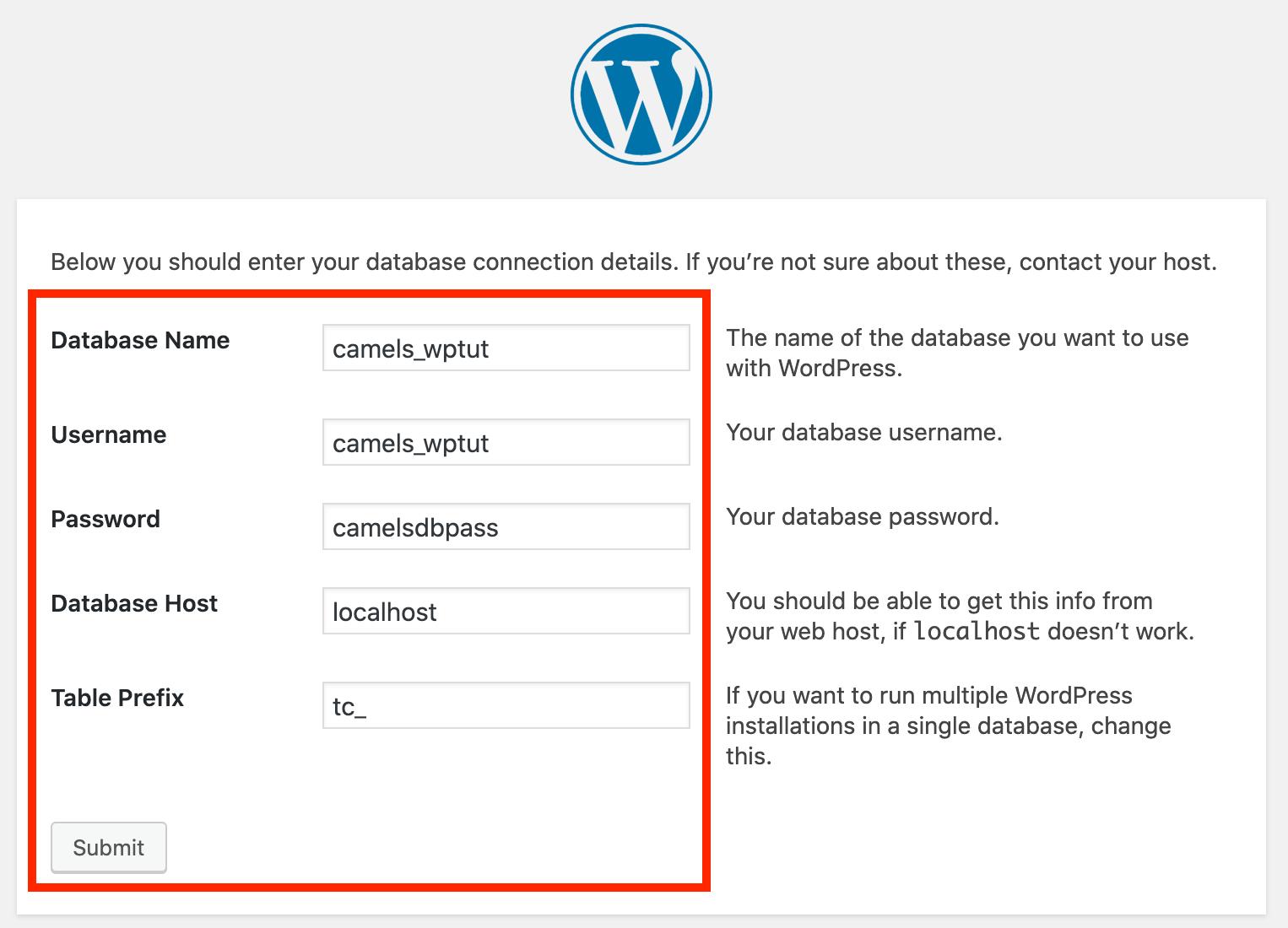 WordPressa installation - step 7
