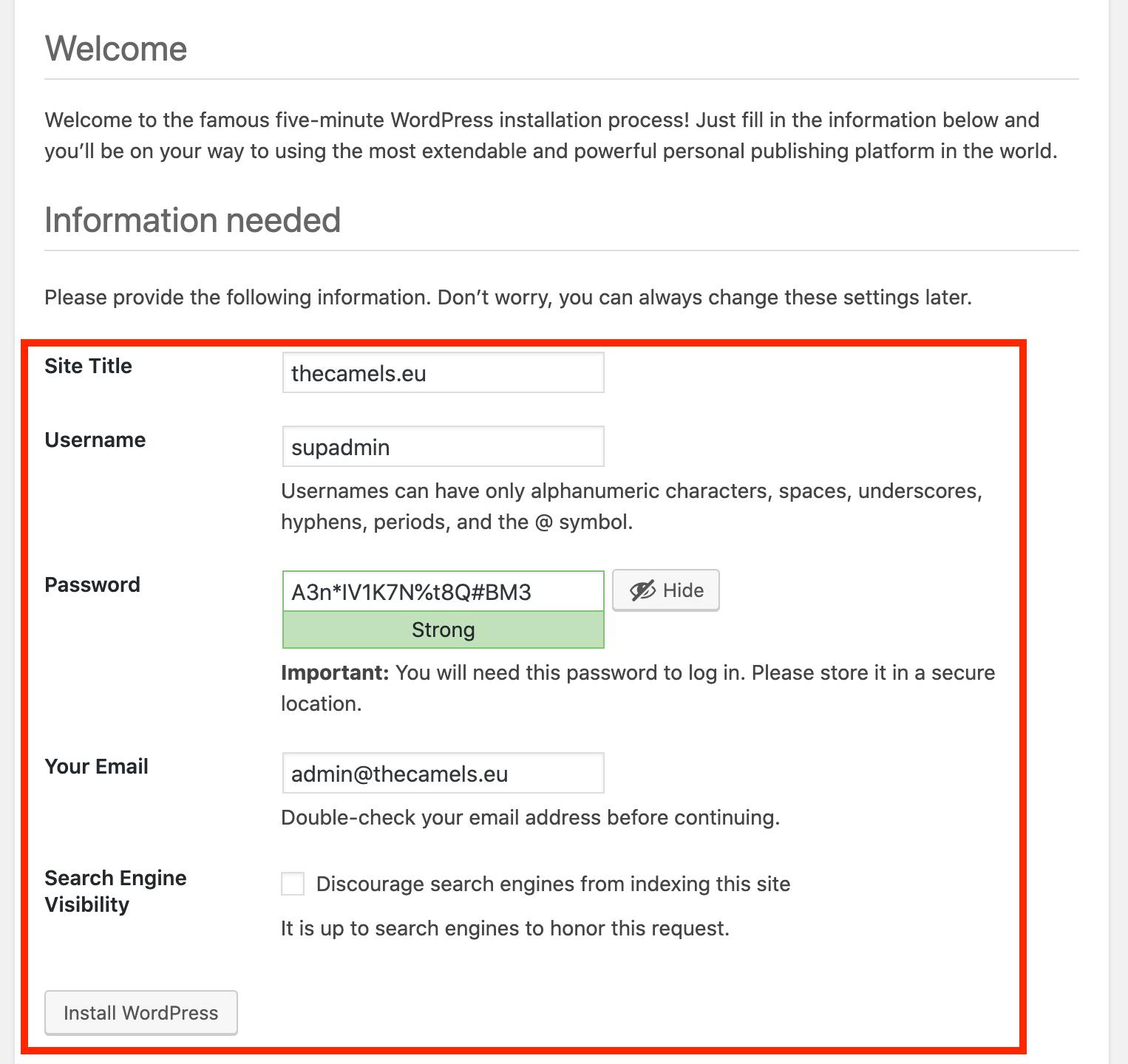 WordPressa installation - step 8