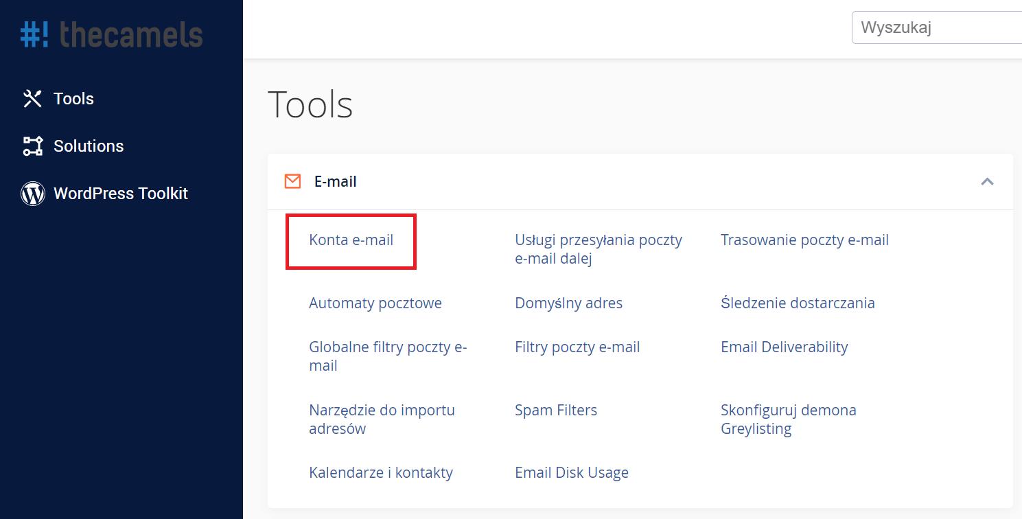 cPanel - tworzenie konta pocztowego - krok 1
