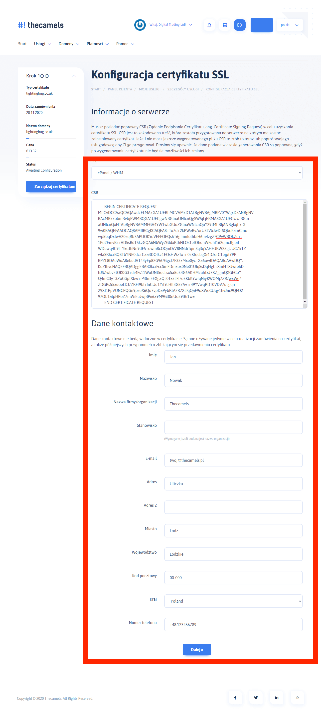 Generowanie SSL - krok 1