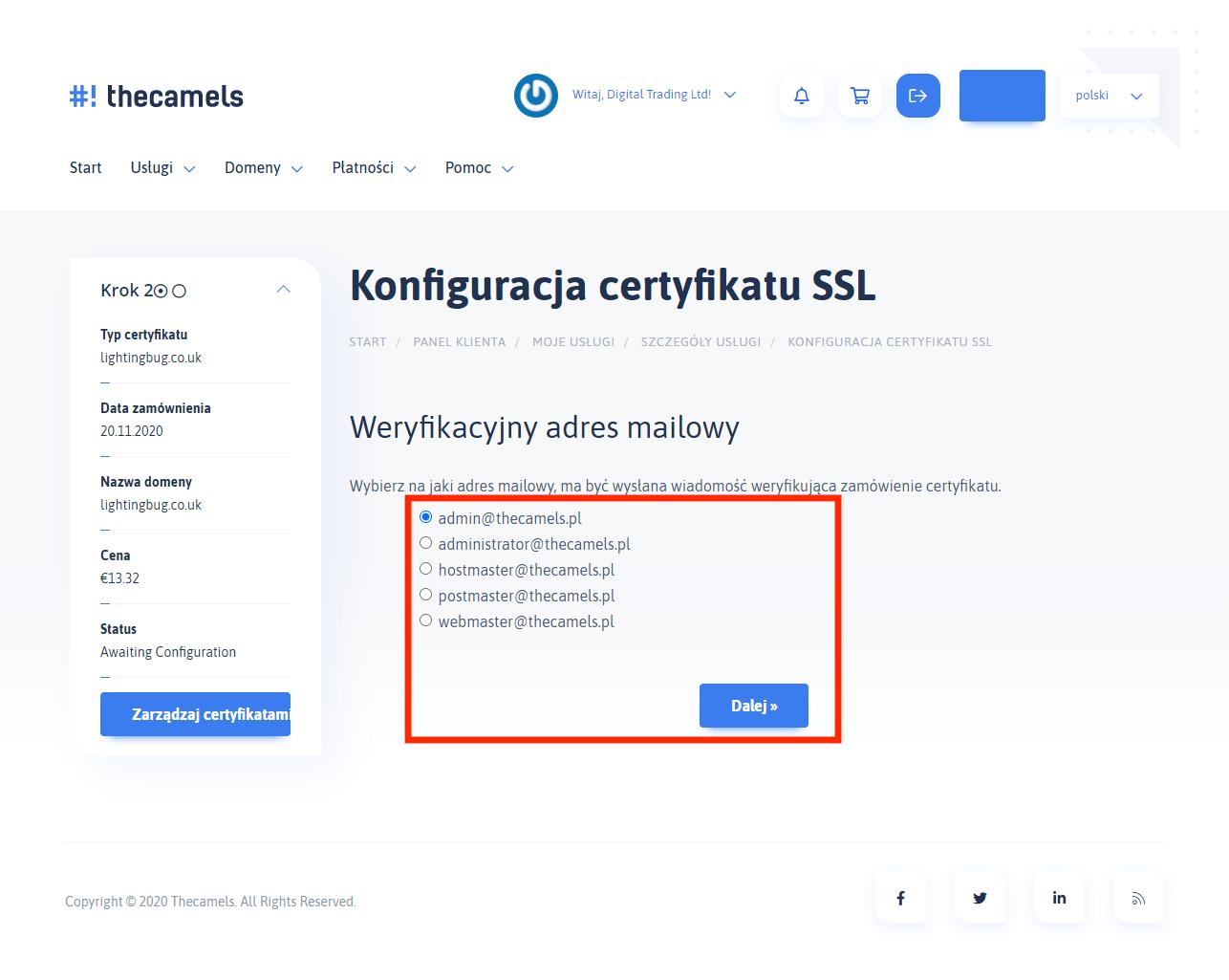 Generowanie SSL - krok 2