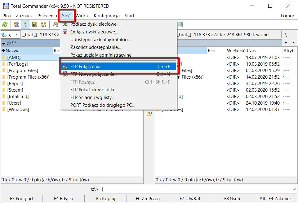 Konfiguracja klienta FTP Total Commamnder - krok 1