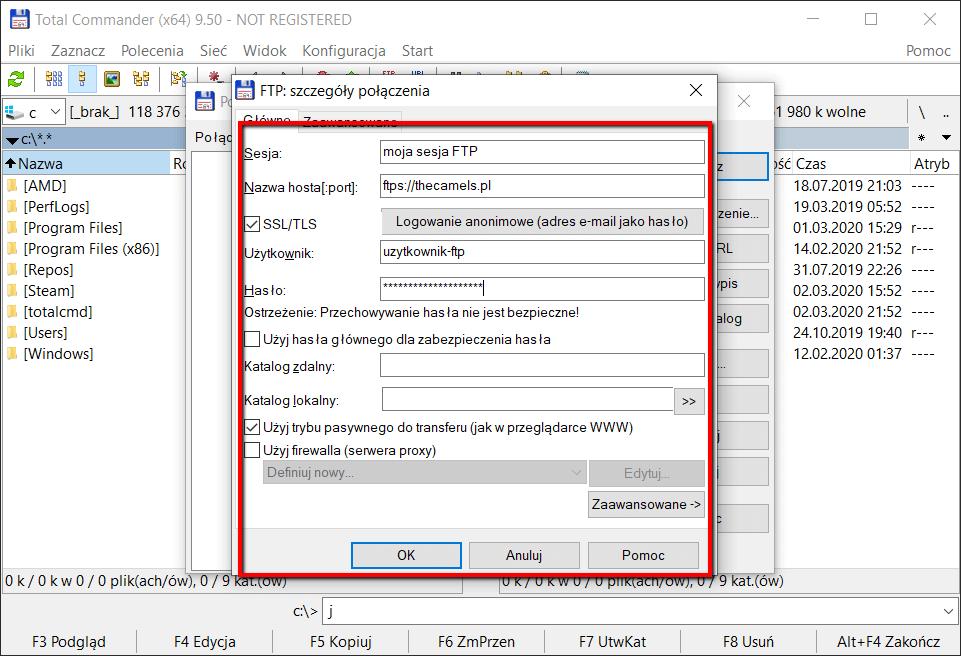 Konfiguracja klienta FTP Total Commamnder - krok 3