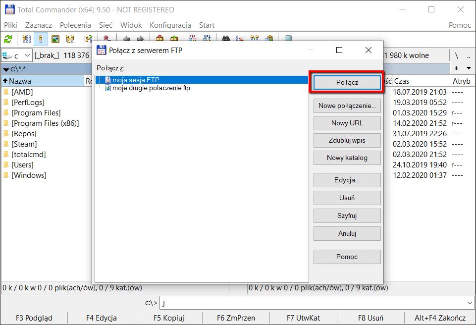 Konfiguracja klienta FTP Total Commamnder - krok 4
