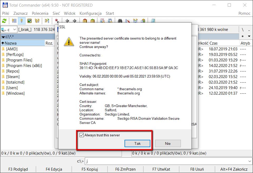 Konfiguracja klienta FTP Total Commamnder - krok 5