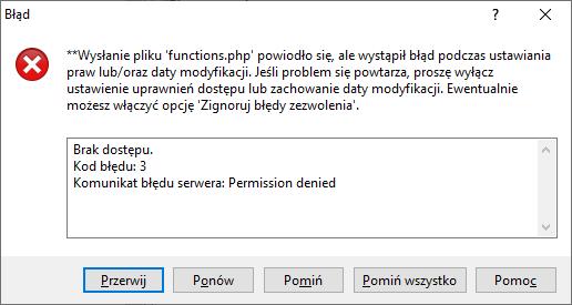 WinSCP błąd czasu