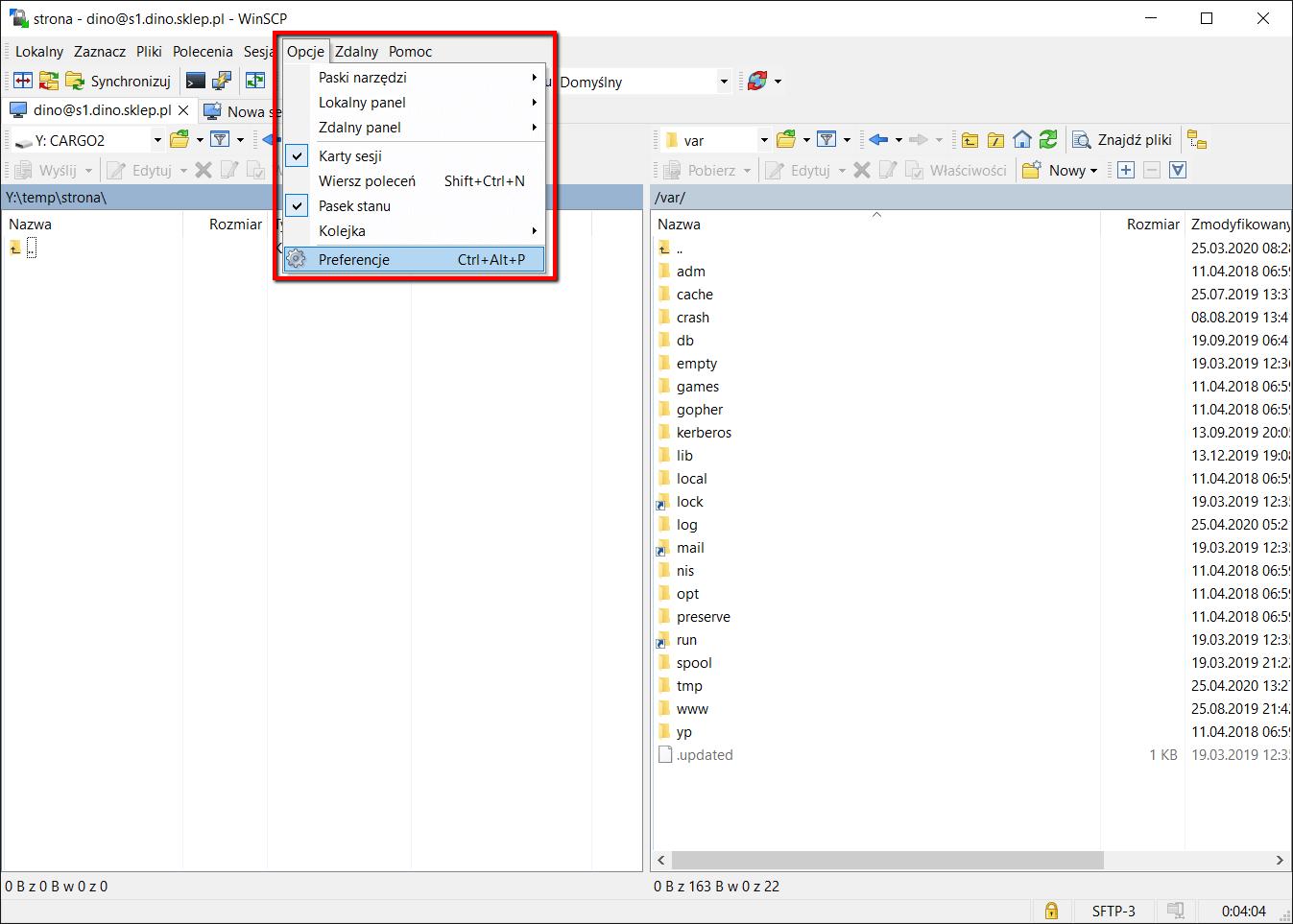 WinSCP błąd czasu - krok 1