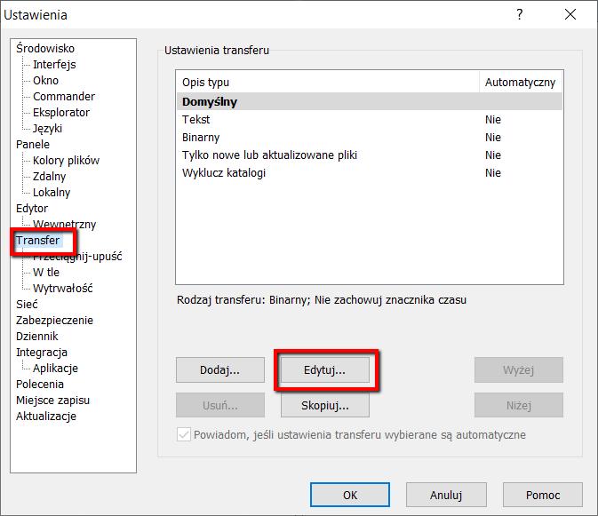 WinSCP błąd czasu - krok 2