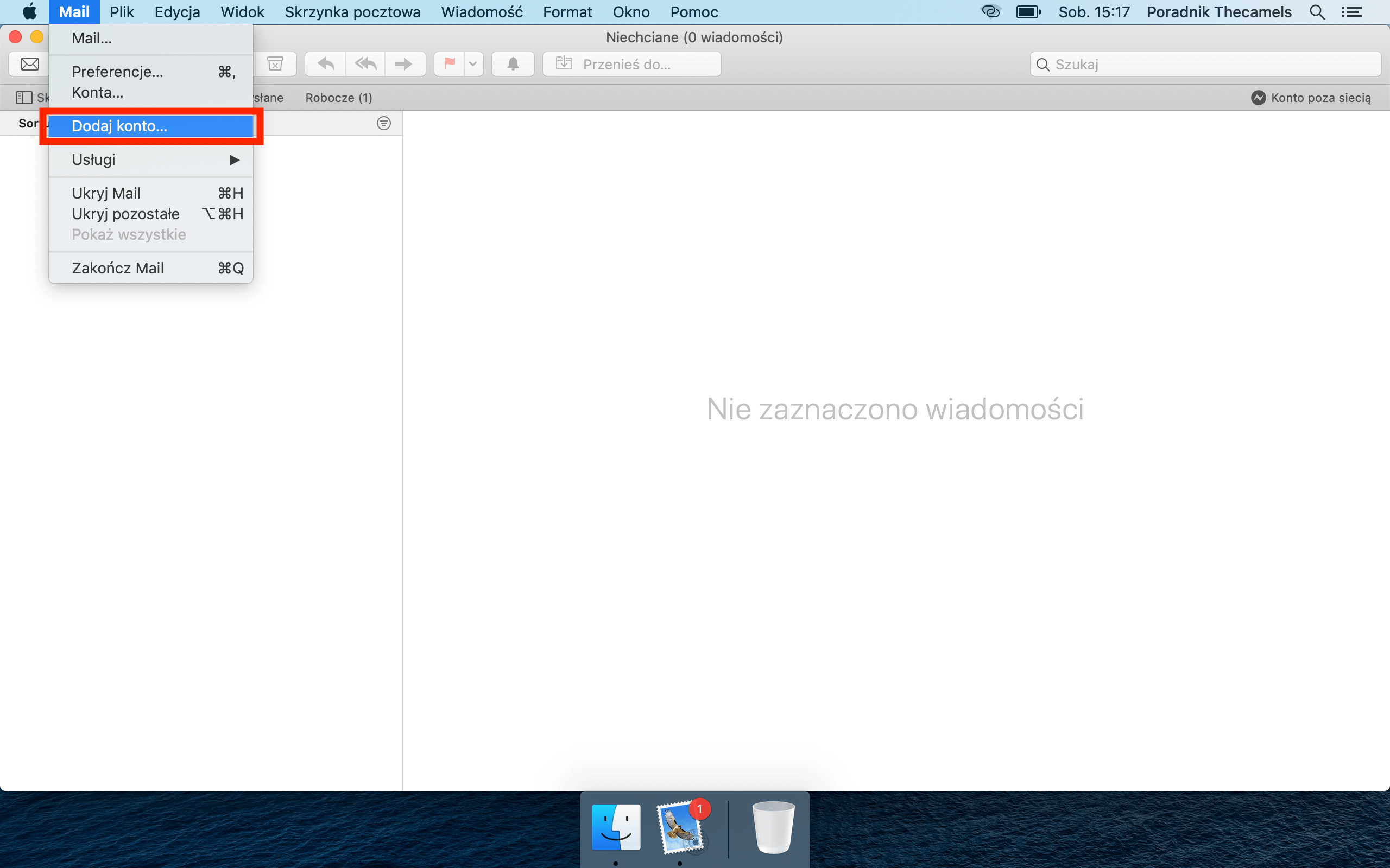 MacOS Mail - krok 1