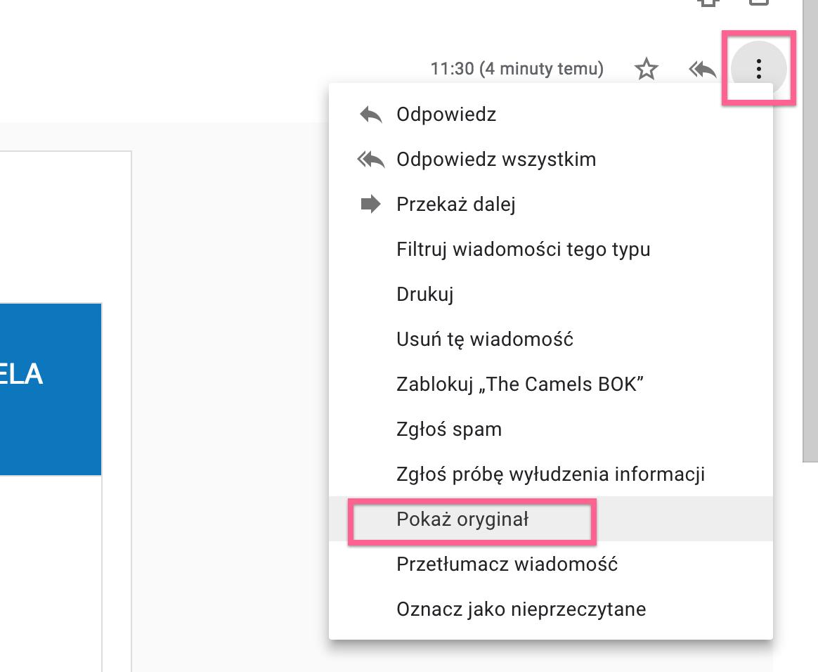 Nagłówki poczty - Google Mail