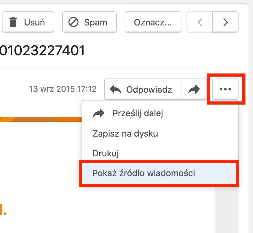 Nagłówki poczty - o2 Mail