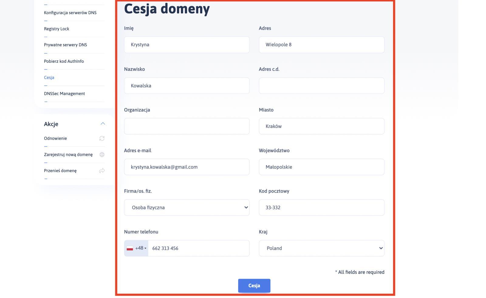 Jak wykonać cesję domeny w panelu klienta - ktok 5