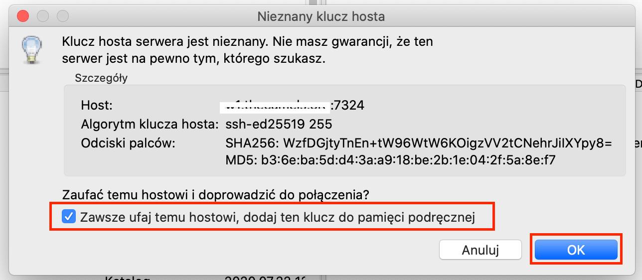 Jak zalogować się na serwer programem FileZilla - krok 2