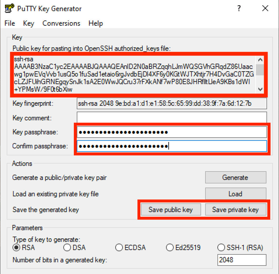 Generowanie klucza SSH - Putty - krok 2