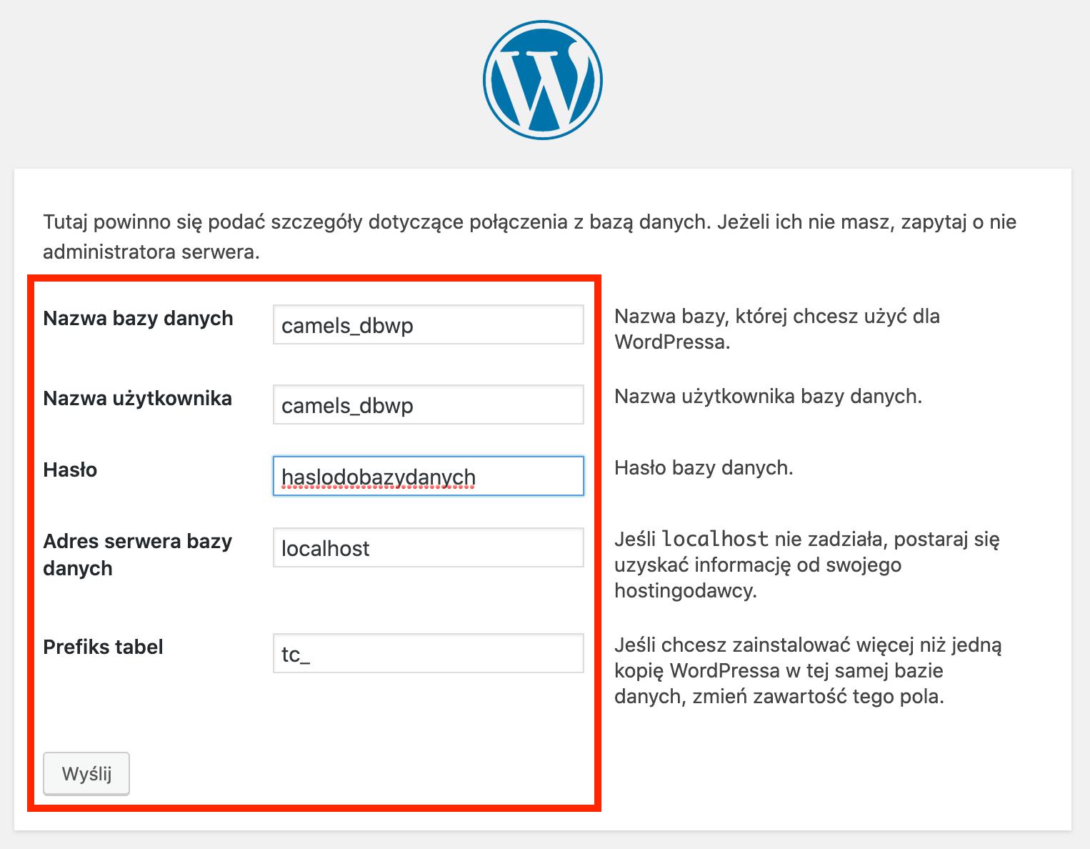 Instalacja WordPressa - krok 7